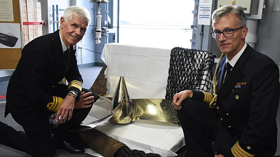 Vice Admiral Sir Alan Massey, CEO of the Maritime & Coastguard Agency (left) with Captain Matthias Schmidt, German Naval Attache
