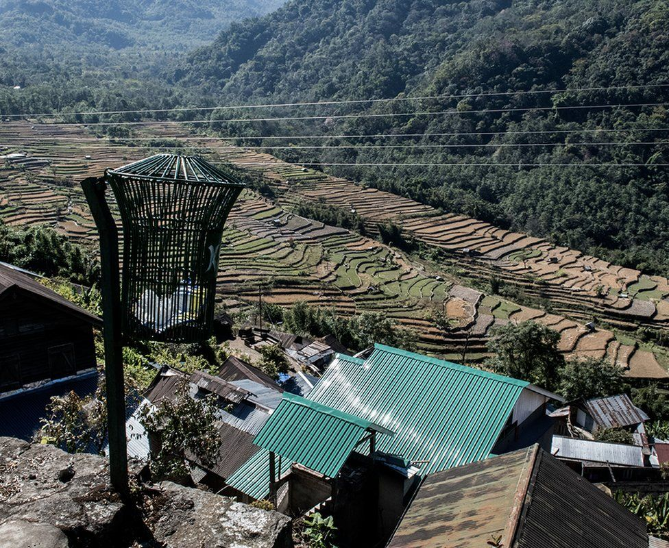 The villagers practice terraced farming to increase yields.