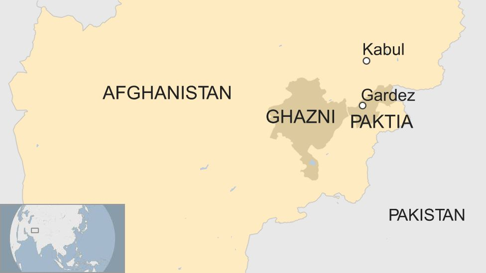 A BBC map showing the locations of Paktia and Ghazni provinces
