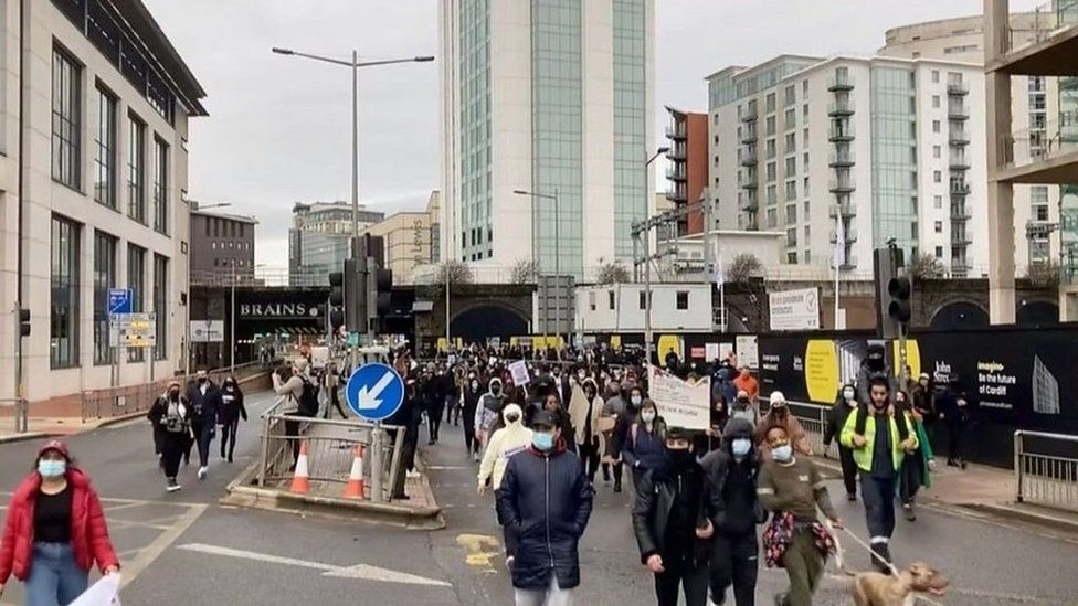 Protesters took to Cardiff's streets following Mr Hassan's death