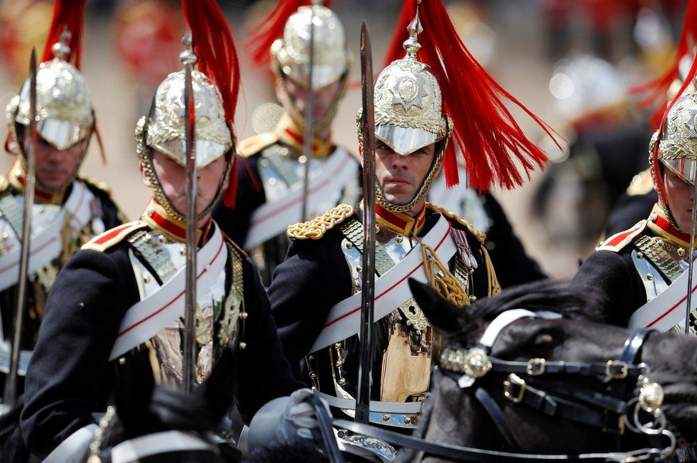 Members of the Household Cavalry take part in the Trooping the Colour parade