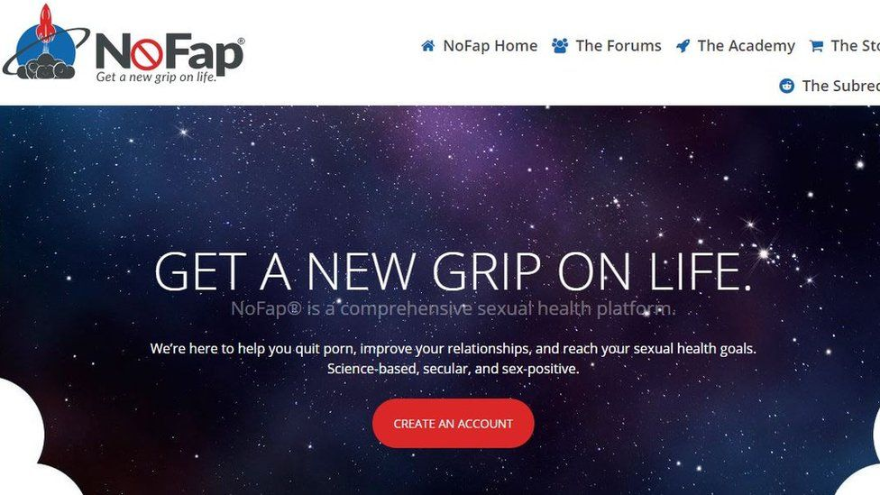 screenshot from nofap webpage. Alexander Rhodes has turned the NoFap idea into a brand and an organisation