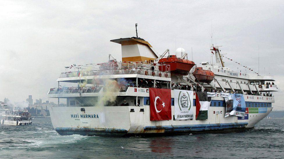 Mavi Marmara leaves from Sarayburnu port in Istanbul 22 May 2010