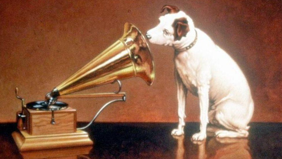 The original logo for His Master's Voice, inspired by a painting of Nipper the Dog