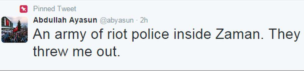 A tweet by Zaman journalist Abdullah Ayasun