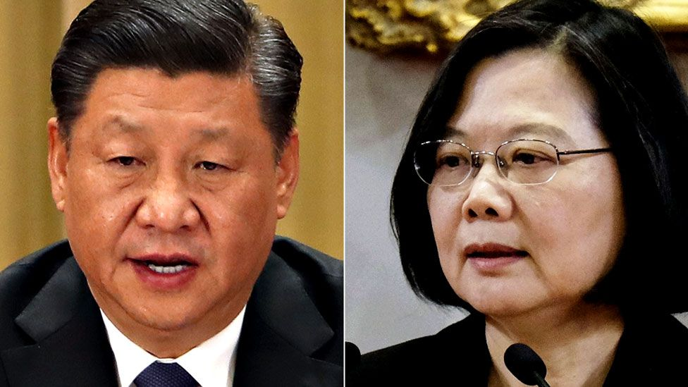 Composite picture of Chinese President Xi Jinping and Taiwan's president Tsai Ing-wen