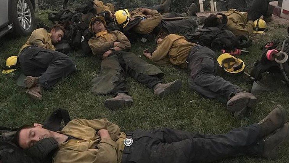 Firefighters sleeping in California