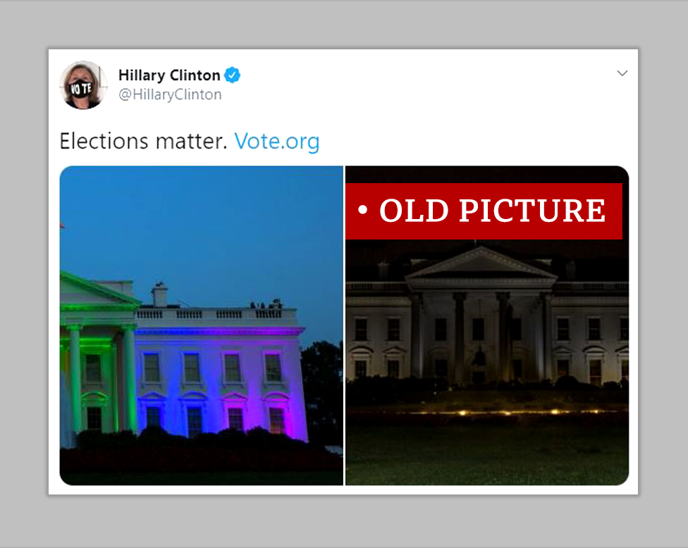 """Hillary Clinton posted a photo of the White House lit up in the colours of the rainbow flag and an old, photoshopped image of the White House with the lights out. She wrote elections matter. We labelled the second image """"Old picture"""""""