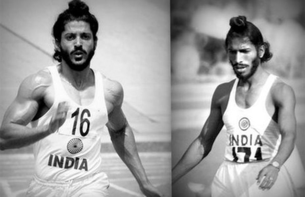 Actor Farhan Akhtar (left) plays the legendary athlete Milkha Singh (right) in the biopic