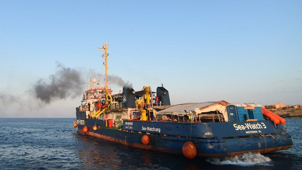 Sea-Watch 3 after disembarking the port at Lampedusa on June 29