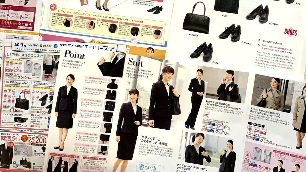 Catalogues advertising female business attire