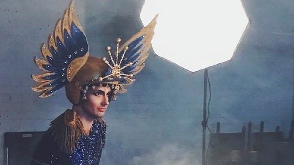 Seiriol Davies recreated one of Paget's most outlandish costumes for his show How To Win Against History