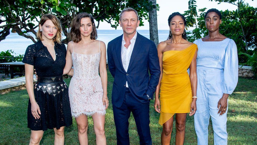 (L-R) Léa Seydoux, Ana de Armas, Daniel Craig, Naomie Harris and Lashana Lynch attend the Bond 25 film launch at writer Ian Fleming's home in Jamaica.
