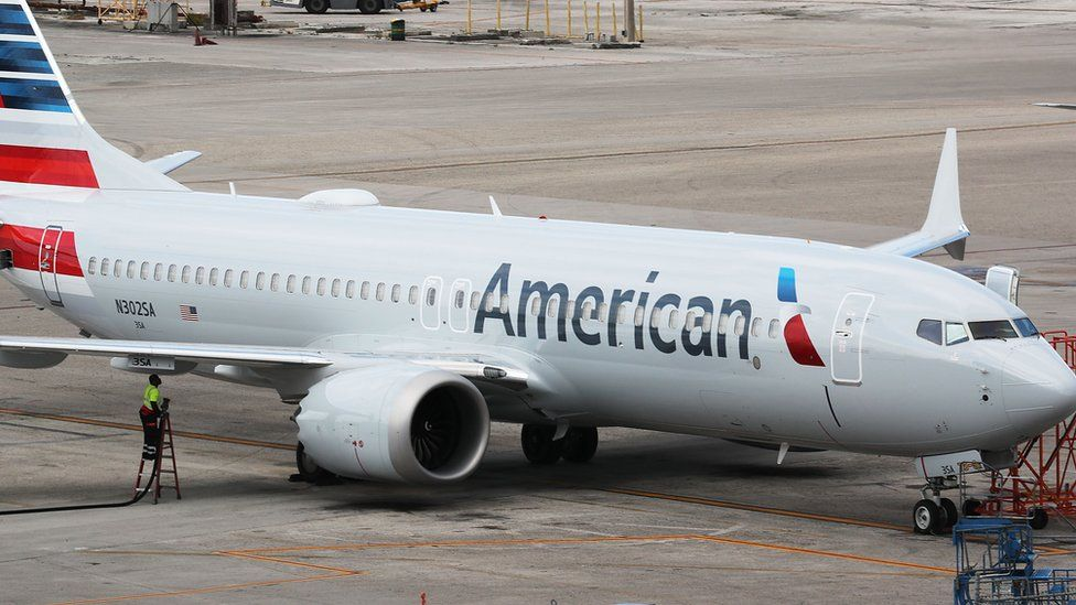 A grounded American Airlines Boeing 737 Max 8 is seen parked at Miami International Airport on March 14, 2019 in Miami, Florida.