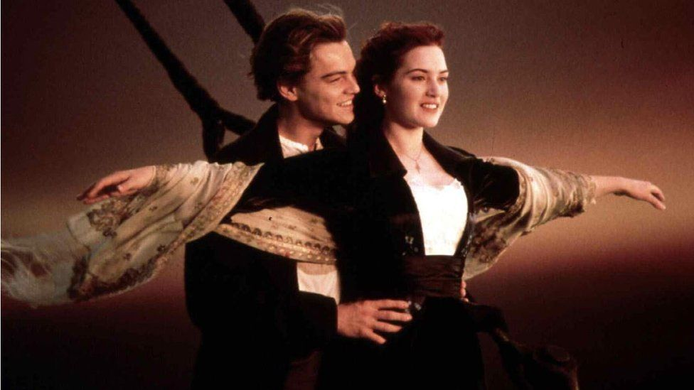 Leo DiCaprio and Kate Winslet in a scene from the film Titanic