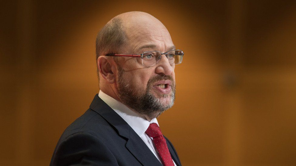 The leader of the Social Democratic Party (SPD), Martin Schulz gives a statement at the SPD headquarter in Berlin