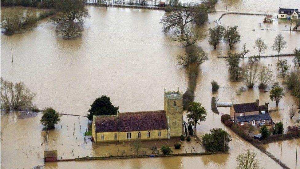 Flooded church in Tirley