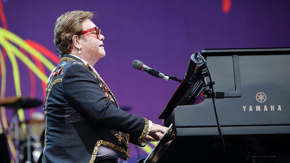 Elton John performs at Mount Smart Stadium in Auckland, New Zealand