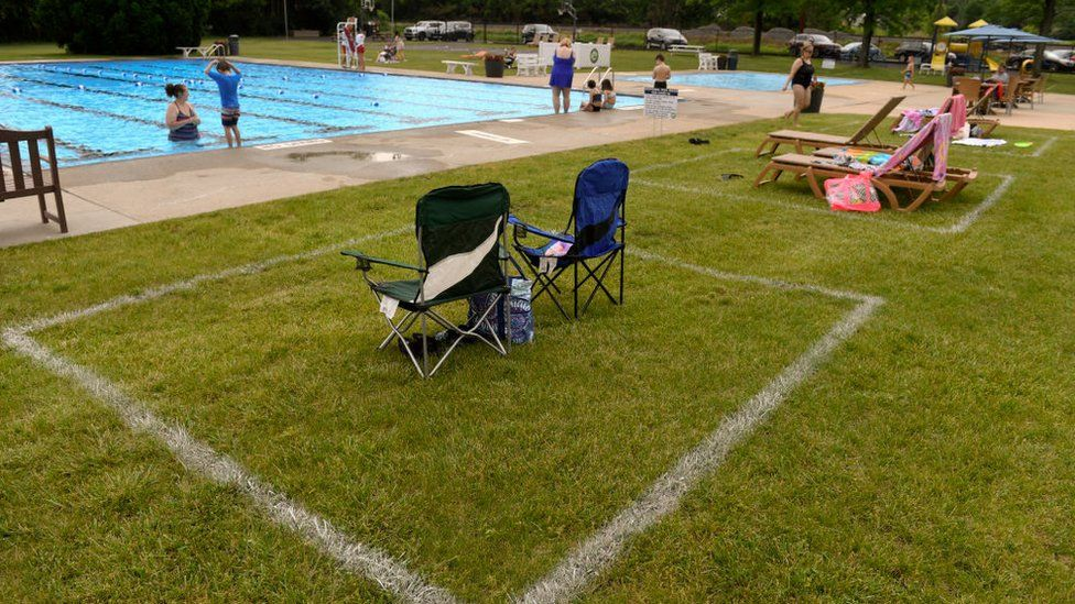 Painted areas on the grass for families to set up. At the Conrad Weiser Community Pool in Heidelberg Township Friday afternoon June 5, 2020