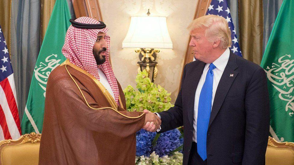 President Donald J. Trump shaking hands with Mohammed bin Salman during a bilateral meeting in Riyadh, Saudi Arabia, 20 May 2017