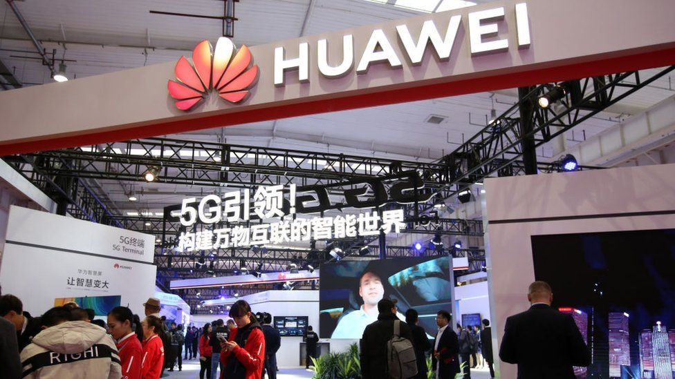 People visit the Huawei booth during 2019 World 5G Convention at Beijing Etrong International Exhibition & Convention Center on November 21, 2019 in Beijing, China.