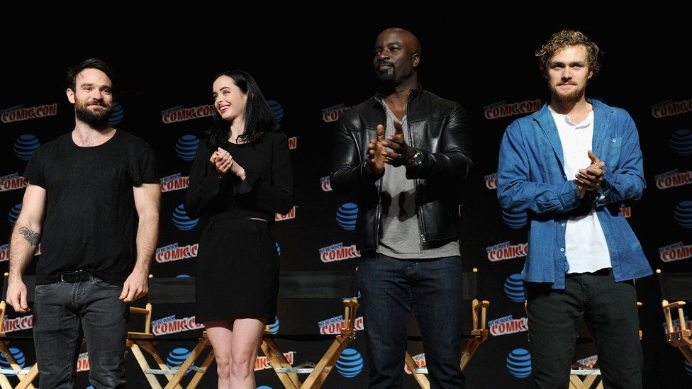 The cast of the Defenders at Comic Con