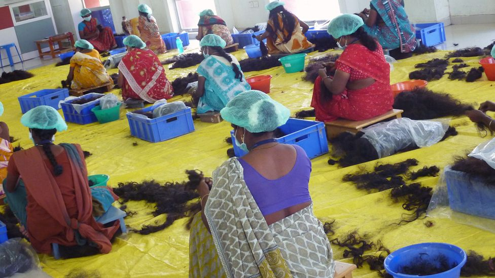 A hair untangling workshop. These are mostly based in India, Bangladesh and Myanmar