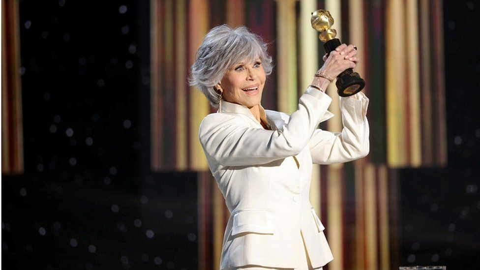 Jane Fonda accepts the Cecil B DeMille Award at the 78th Annual Golden Globe Awards