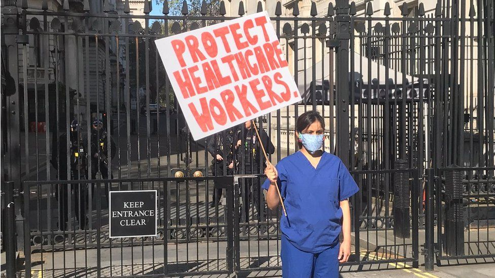 Meenal Viz protesting outside Downing Street