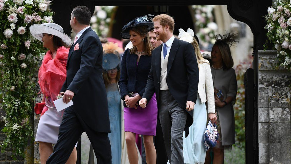 Prince Harry leaves Pippa Middleton's wedding ceremony with guests