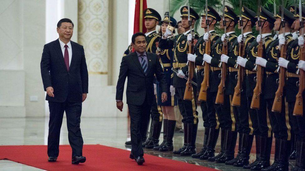 Maldives' former President Abdulla Yameen and China's President Xi Jinping