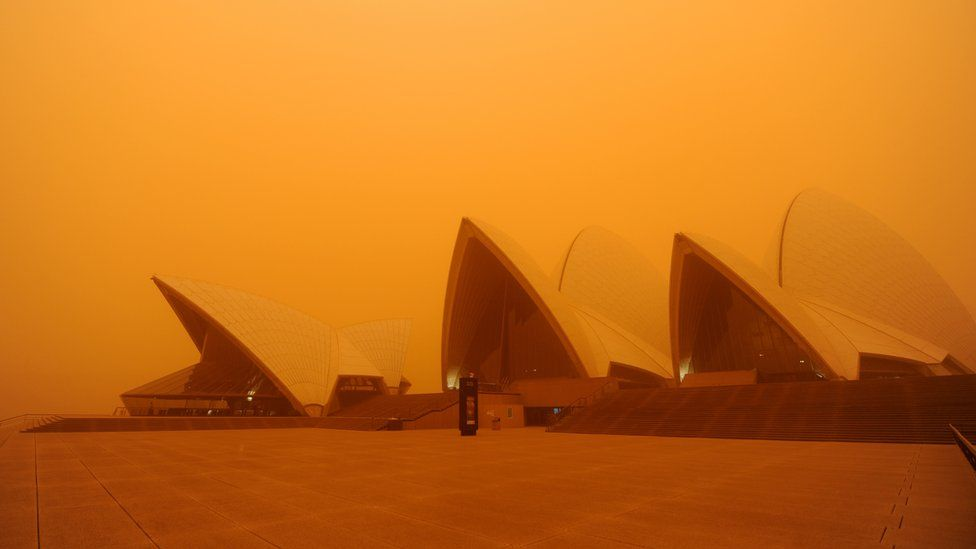 A dust storm from 2009 makes the Sydney Opera House barely visible