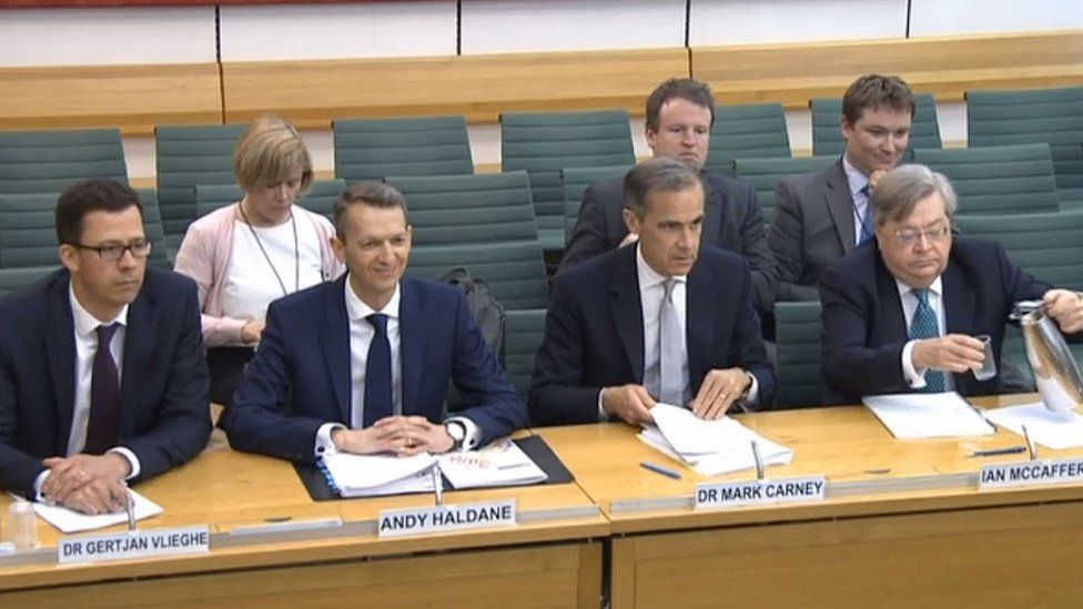 Member of the Monetary Policy Committee of the Bank of England Dr Gertjan Vlieghe, Chief Economist at the Bank of England Andy Haldane, Governor of the Bank of England Mark Carney and member of the Monetary Policy Committee of the Bank of England Ian McCafferty give evidence to the Treasury Select Committee in the House of Commons, London.