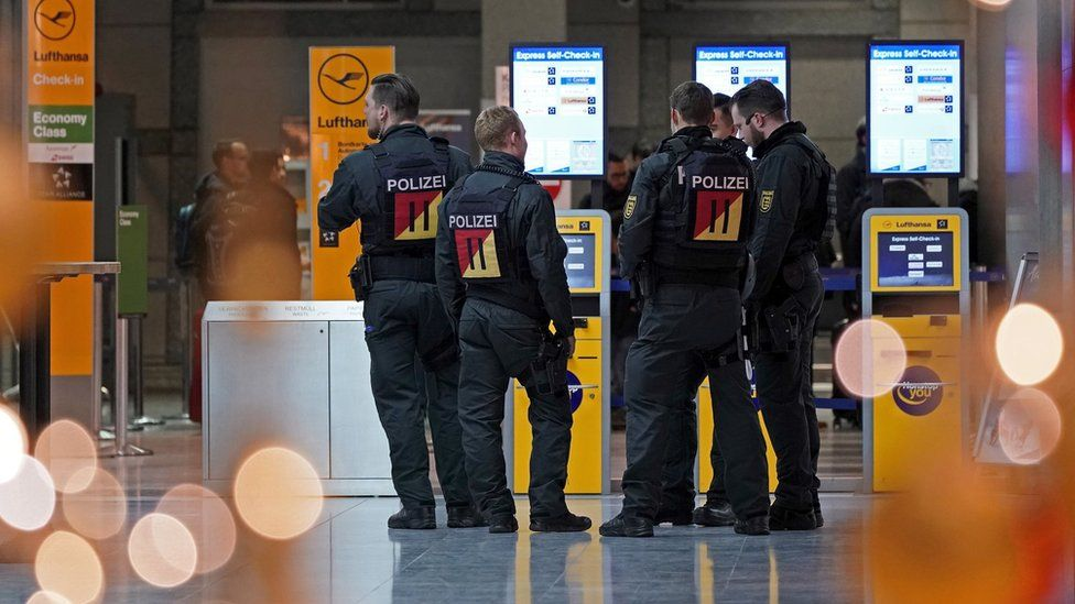 Police in Stuttgart airport, Germany, on 20 December 2018