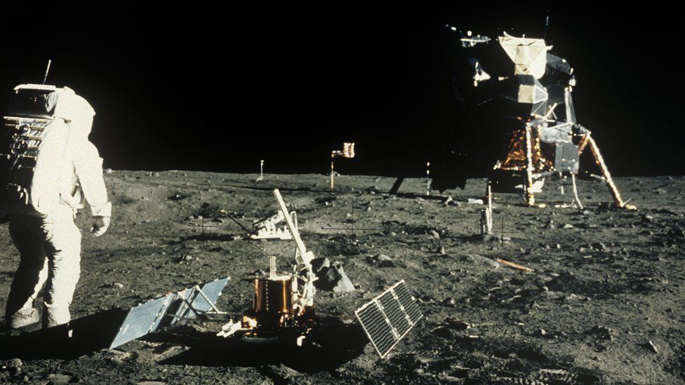 Photo of the Buzz Aldrin and the lunar module on the moon's surface during the Apollo 11 mission