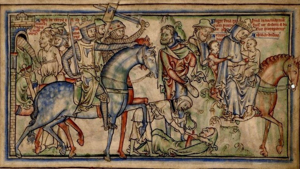 Queen Emma fleeing England with her two young sons. From Life of St Edward the Confessor