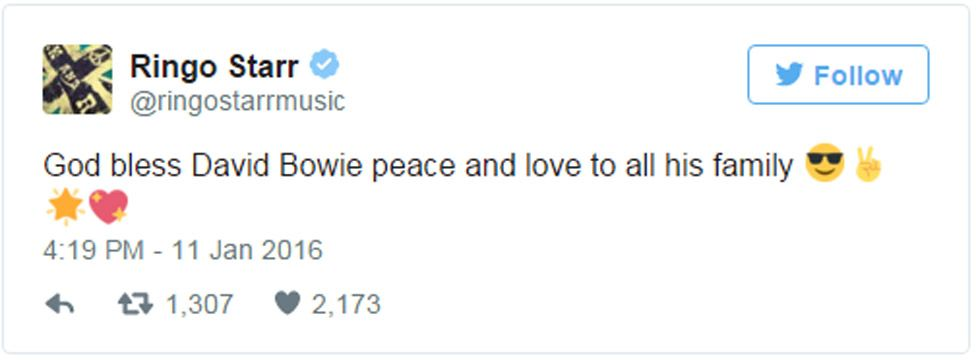 Ringo Starr tweet: God bless David Bowie peace and love to all his family