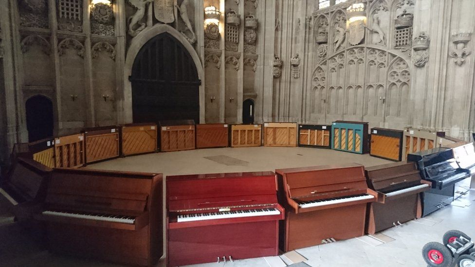 pianos at King's College Chapel