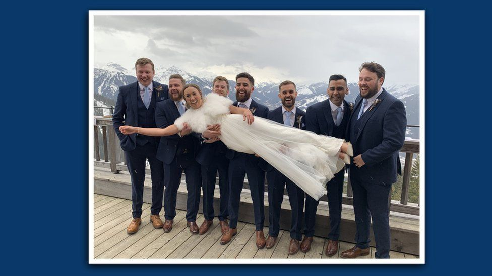 Tom Archer, his new wife and their groomsmen on their wedding day in Austria
