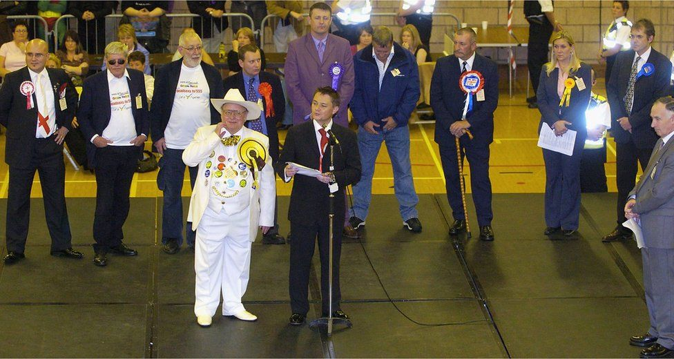 The candidates from the different parties line up during the Hartlepool By-Election at the Mill Hill Leisure Centre on September 30, 2004 in Hartlepool