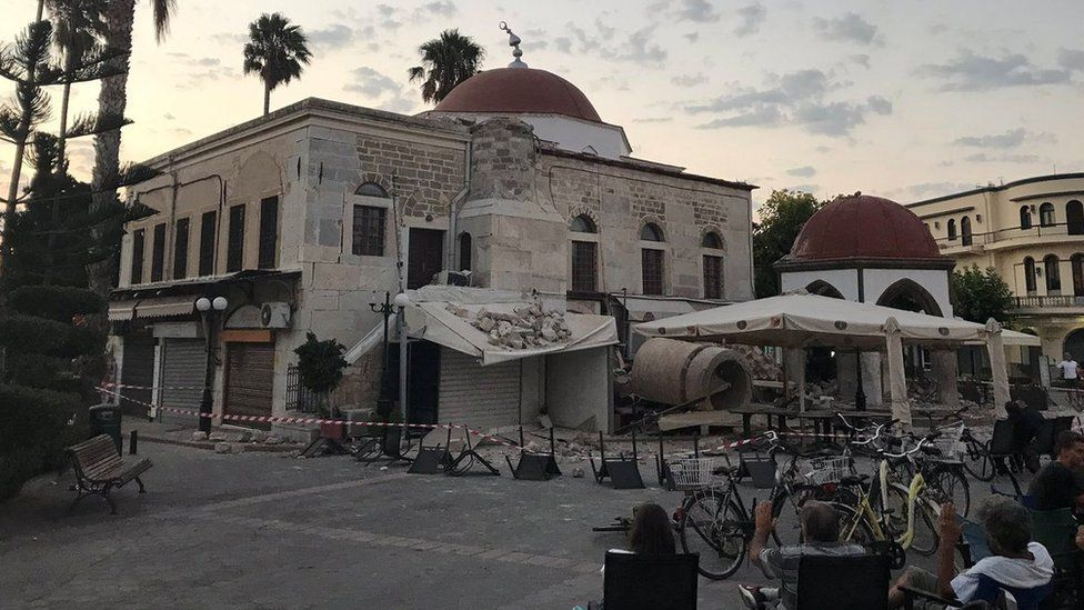 Damage caused after an earthquake struck the Greek island of Kos, 21 July 2017