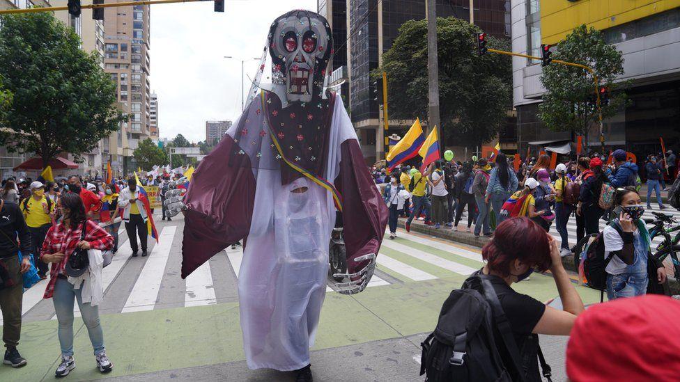 Art teacher Ramiro Velasco at a protest in Bogotá on 12 May 2021
