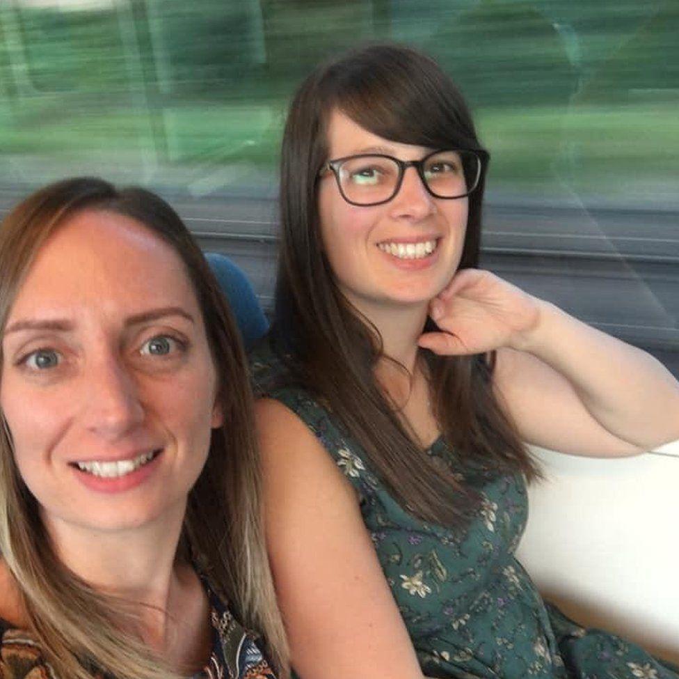 Two women in a train