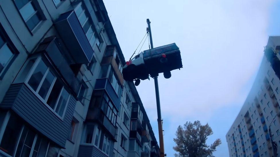 Birthday surprise van on a crane, Biysk, Siberia, September 2017