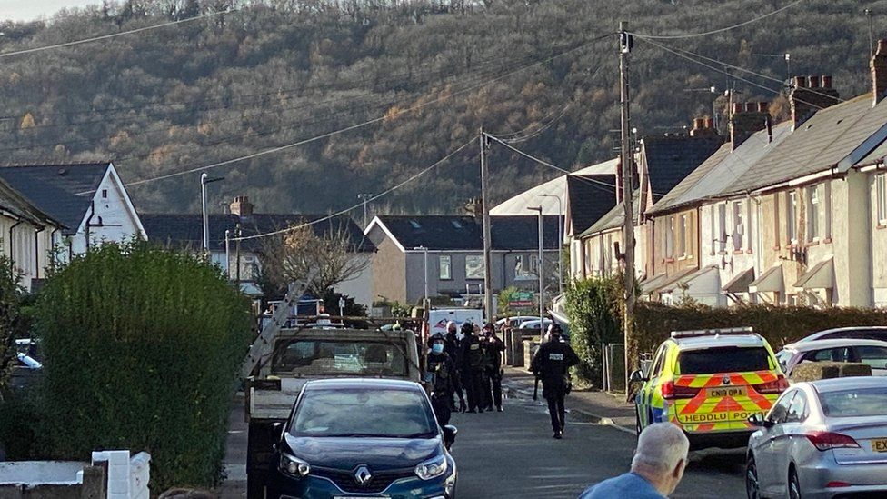 Police at the stabbing incident
