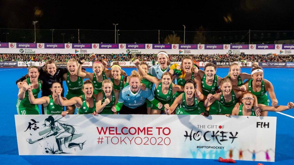 Ireland celebrate after winning shootout against Canada in November 2019