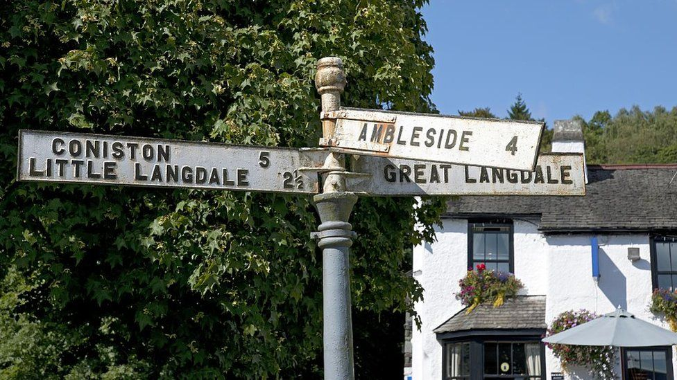 Road signs for several Lake District villages