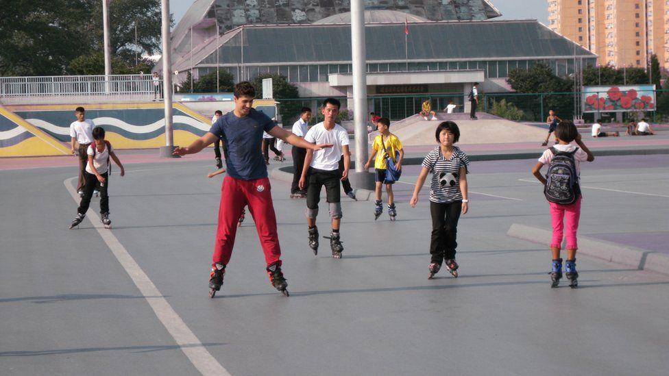 Rollerblading in Pyongyang