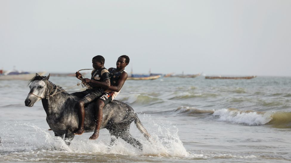 Men ride a horse in the sea in Senegal