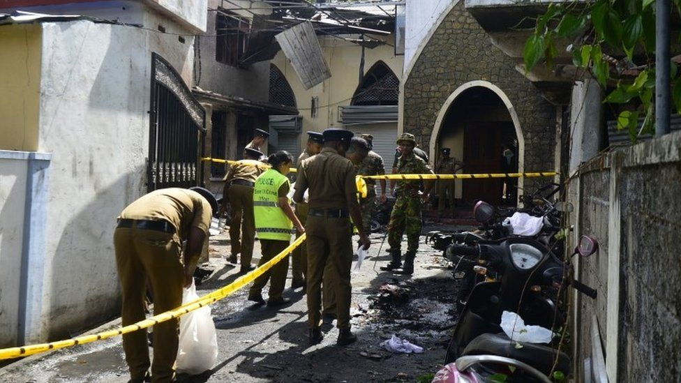 The aftermath of a bomb blast at the Zion church